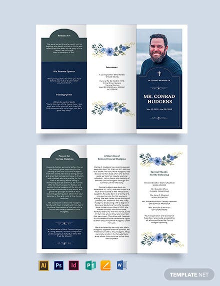 Catholic Burial Funeral Tri-Fold Brochure Template