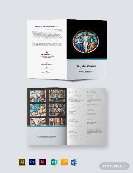 catholic funeral mass bi fold brochure