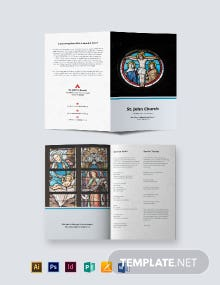 Catholic Funeral Mass Bi-Fold Brochure Template