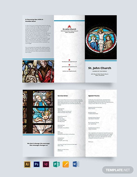 Catholic Funeral Mass Tri-fold Brochure Template