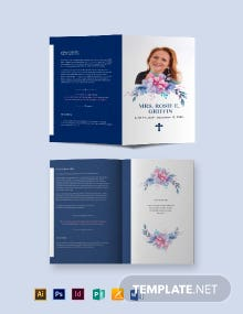 Catholic Funeral Prayer Bi-Fold Brochure Template