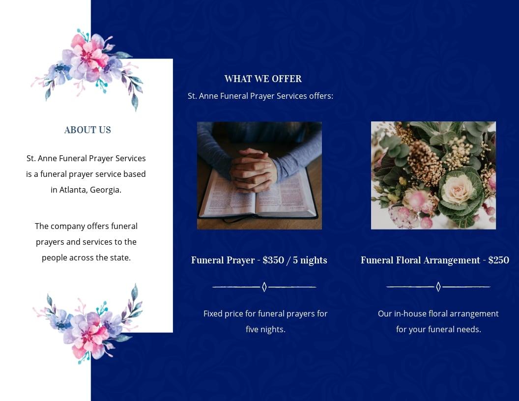 Catholic Funeral Prayer Tri-Fold Brochure Template [Free JPG] - Illustrator, InDesign, Word, Apple Pages, PSD