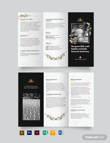 Catholic Funeral Service Tri-Fold Brochure Template