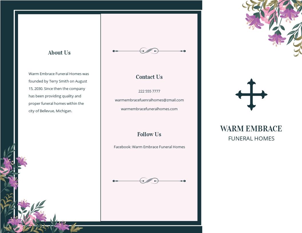 Celebration of Life Catholic Funeral Tri Fold Brochure Template.jpe