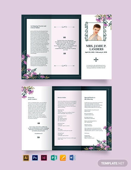 celebration of life catholic funeral tri fold brochure