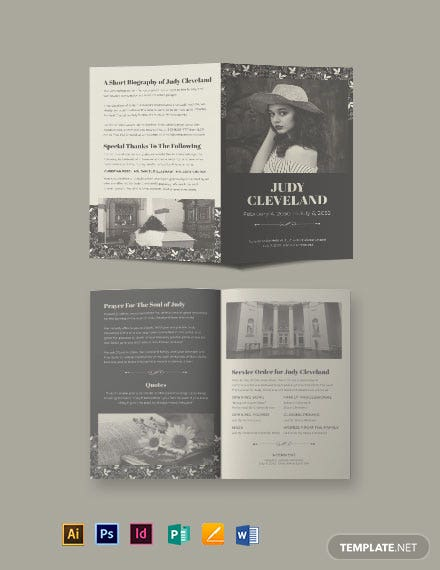 celebration of life eulogy funeral bi fold brochure