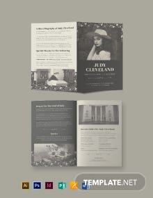Celebration of Life Eulogy Funeral Bi-Fold Brochure Template