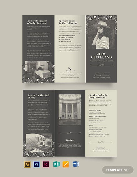 Celebration of Life Eulogy Funeral Tri-Fold Brochure Template