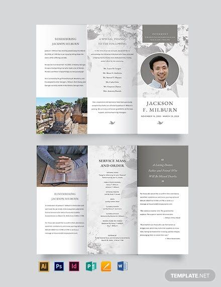 celebration of life evite funeral tri fold brochure