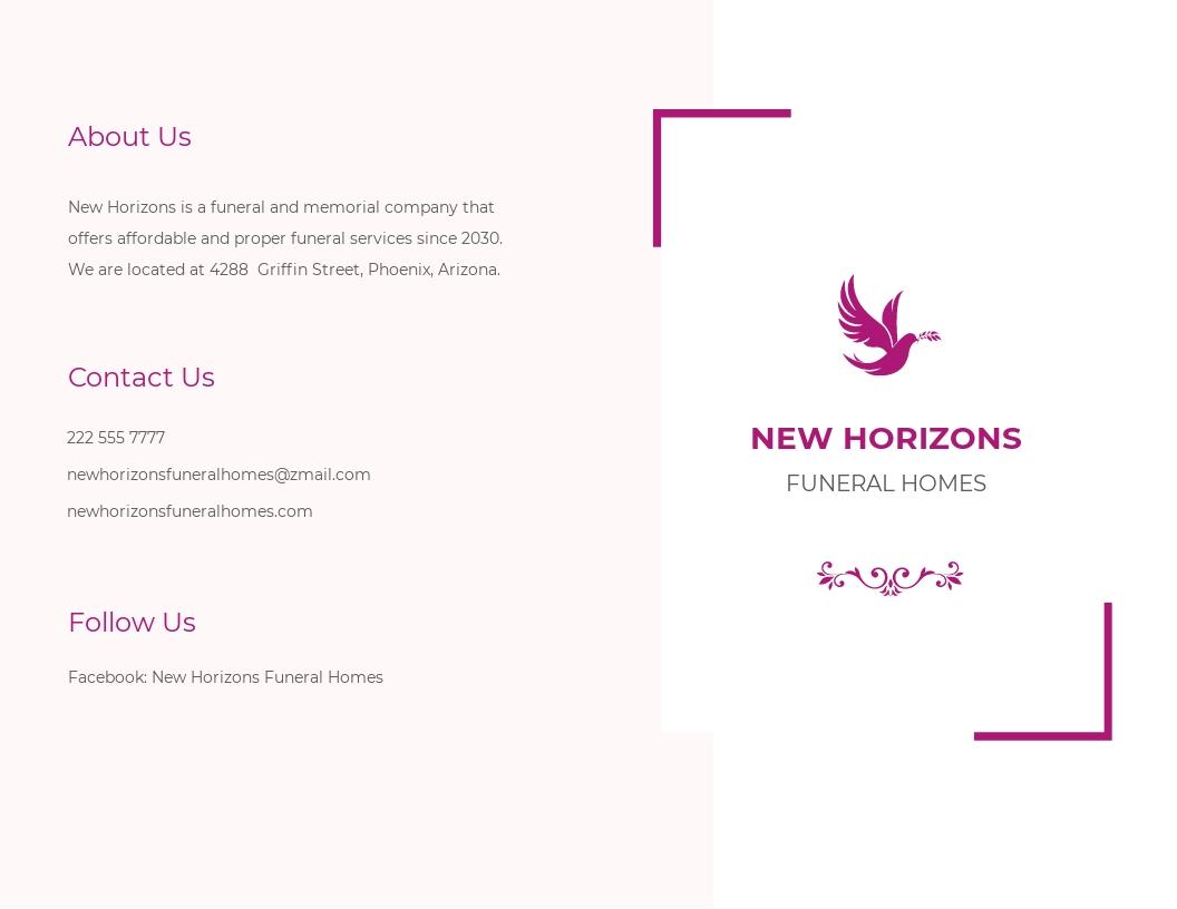 Celebration of Life Funeral Program Bi Fold Brochure Template.jpe