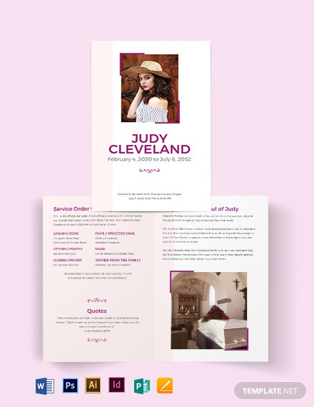 celebration of life funeral program bi fold brochure template