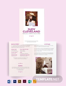 Celebration of Life Funeral Program Bi-Fold Brochure Template
