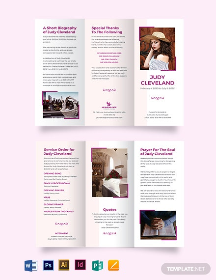 celebration of life funeral program tri fold brochure template