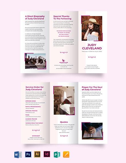 Celebration of Life Funeral Program TriFold Brochure Template