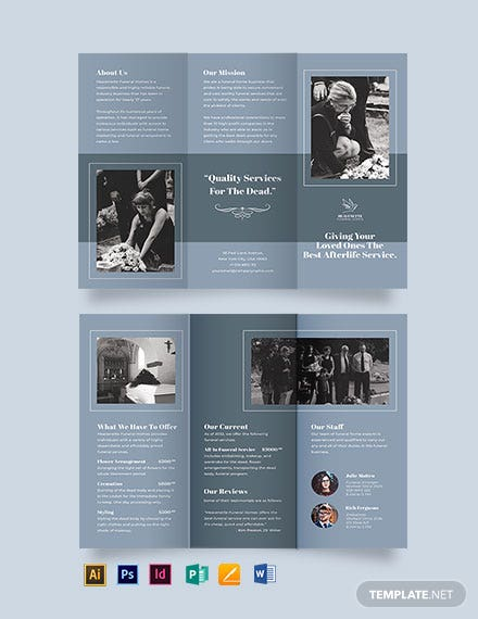 christian funeral service tri fold brochure