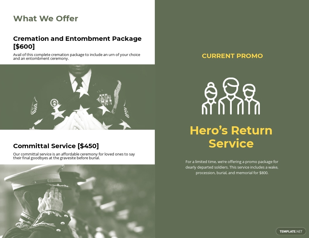 Military Eulogy Funeral Bi Fold Brochure Template 1.jpe