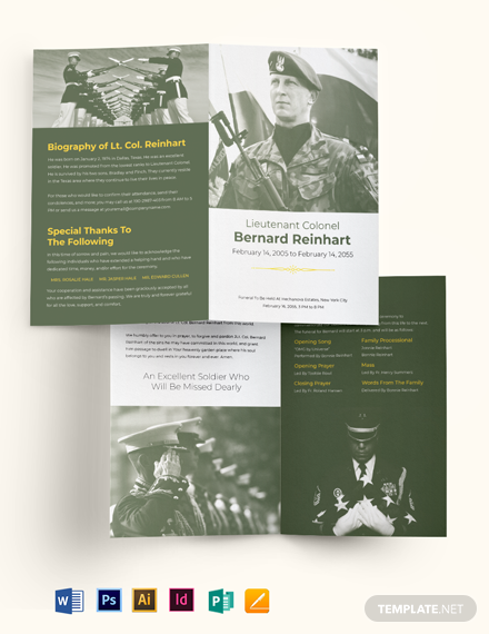 Military Eulogy Funeral Bi-Fold Brochure Template