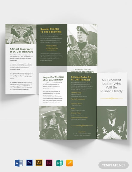 Military Eulogy Funeral Tri-Fold Brochure Template