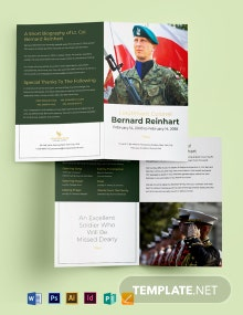 Military Funeral Program Bi-Fold Brochure Template