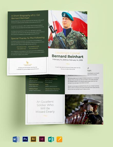 Military Funeral Program Bi-Fold Brochure Template