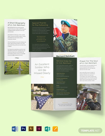 Military Funeral Program Tri-fold Brochure Template