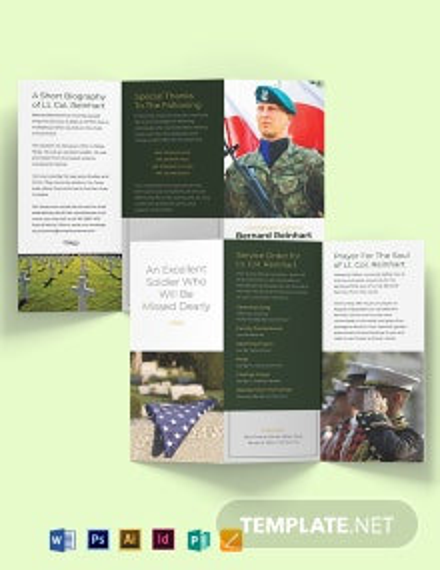 Military Funeral Program Tri-Fold Brochure Template