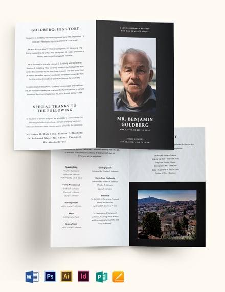 Minimalistic Eulogy Funeral Bi-fold Brochure Template
