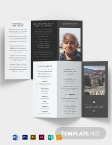 Minimalistic Eulogy Funeral Tri-Fold Brochure Template