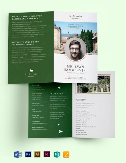 Modern Eulogy Funeral Bi-Fold Brochure Template