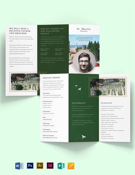 Modern Eulogy Funeral Tri-fold Brochure Template