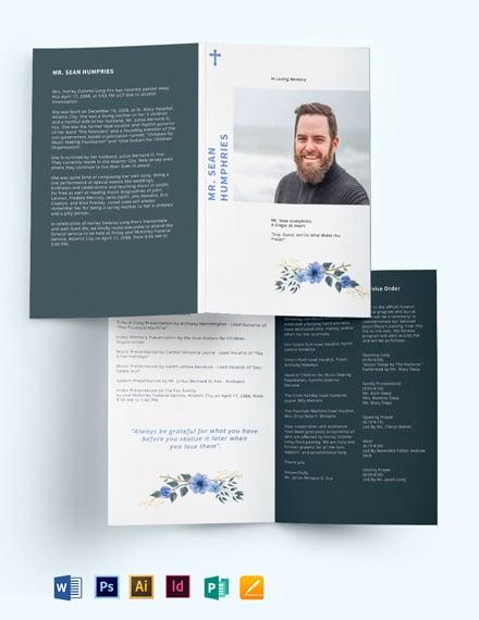 modern funeral program bi fold brochure
