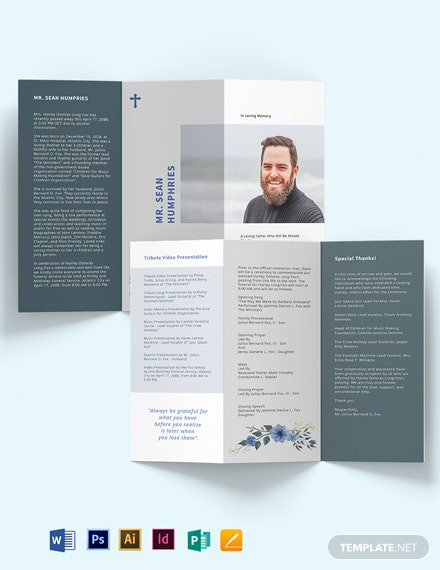 Modern Funeral Program Tri-Fold Brochure Template [Free Publisher] - Illustrator, InDesign, Word, Apple Pages, PSD