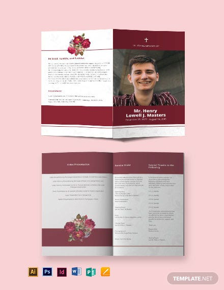Blank Funeral Program Bi-Fold Brochure Template