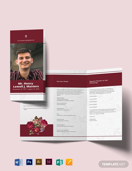 Blank Funeral Program Tri-Fold Brochure Template