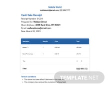 Free Cash Sale Receipt Template