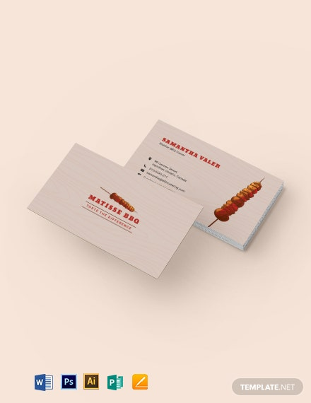 Wood BBQ Business Card Template