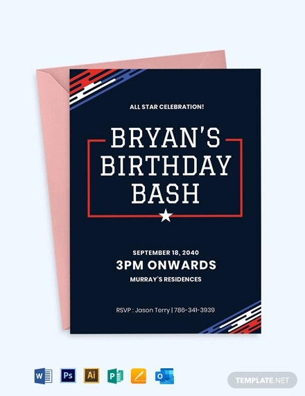 Birthday Sports Ticket Invitation Template