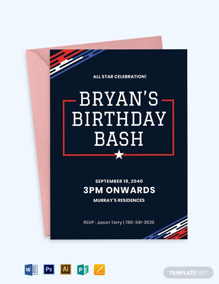 birthday sports ticket invitation