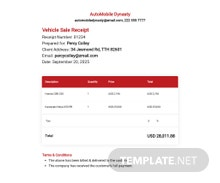 Free Sample Vehicle Sale Receipt Template