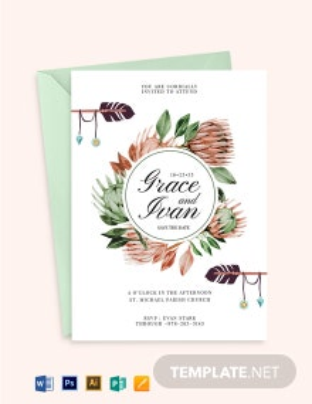 Bohemian Protea floral Invitation Template
