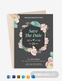 Boho ROSES Wedding Invitation Template