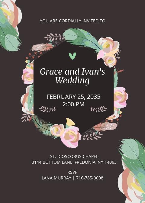 Boho ROSES Wedding Invitation Template