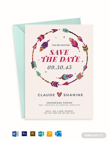 Boho style Wedding Invitation Template