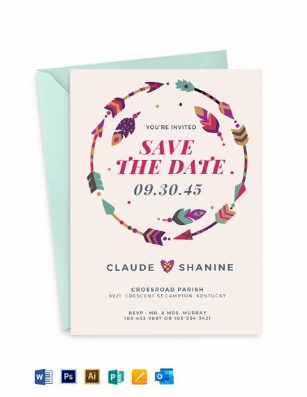 Boho style Wedding Invitation Template