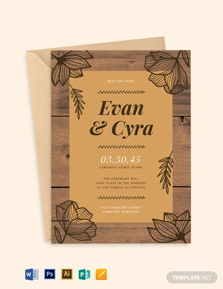 Brown Fall Wedding Invitation Suite Template