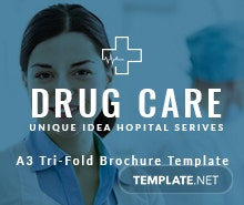 Free Drug Care A3 Tri-Fold Brochure Template