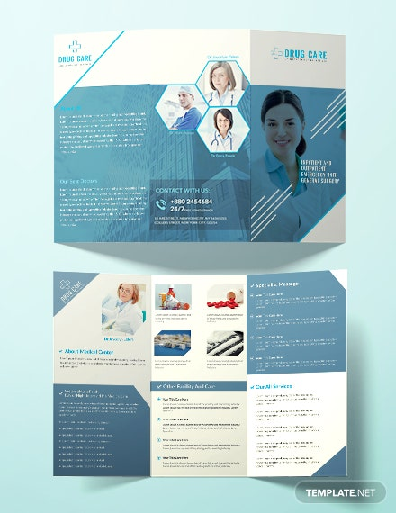 Free Drug Care A3 Tri-Fold Brochure Template