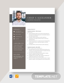 Academic Evaluator Resume Template