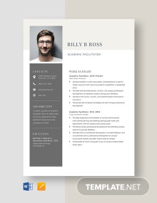 Academic Facilitator Resume Template