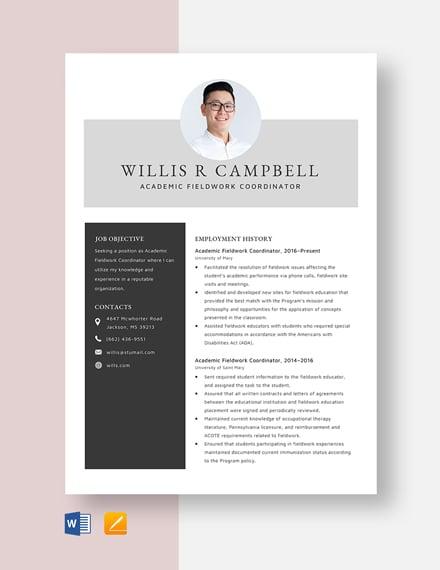 Academic Fieldwork Coordinator Resume Template